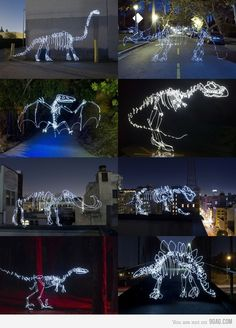 light painting dinosaurs!