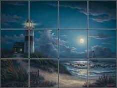 Full Moon Seascape and Lighthouse Tile Mural | Pacifica Tile Art Studio