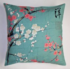"Throw Pillow Cover - 16x16"" sewn with Alexander Henry's Golden Garden in Teal - Asian Floral Throw Pillow Cover"