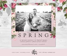 • Instant download •  Spring Mini Session Template | pink floral  DETAILS:  • 1 PSD file (only front) • 5x5 inches • easily customize texts • layered photoshop PSD files at 300 dpi • clipping masks, easy to drop your photos in • name of the fonts used included • photos are not included with this template   You will need basic knowledge of Adobe Photoshop to make changes in templates. AliceAndPaper products are created for photographic uses. These designs are copyrighted by AliceAndPaper…