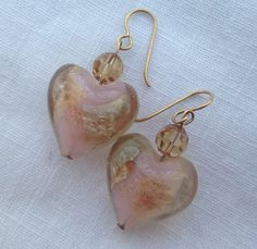 Glass Heart Earrings  Handmade Valentines Day by eclecticnesting