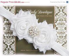SALE Baby Christening Headband..Newborn Girl Headband..Vintage Inspired Double Frayed White Flower Headband..Headband....Baby Headbands on Etsy, $6.96