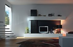 Classical Enilghtment Apartment Furniture With Modern Living Room Tv Wall Units In Black And White Colors