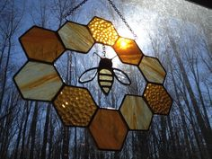 Stained Glass Bee and Honeycomb Wreath by GlassStudio820 on Etsy https://www.etsy.com/listing/222523090/stained-glass-bee-and-honeycomb-wreath