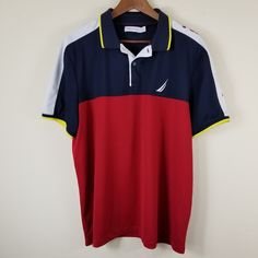 41de644c9 Mens Nautica Spellout Sleeve Red White Navy Blue Color Block Polo Shirt
