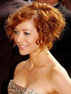 Short Curly Bob Hairstyle - Copper Colored Short Cut from Alyson short curly bob hairstyles - Bob Hairstyles Short Wavy Haircuts, Bob Haircut Curly, Shaggy Short Hair, Inverted Bob Hairstyles, Short Curly Bob, Haircuts For Curly Hair, Short Hair Cuts, Curly Hair Styles, Hairstyles Haircuts