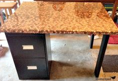 DIY:  How to Cover Furniture With Pennies + how to cut and bend pennies - Penny Project - via Homeroad