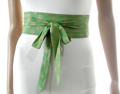 Green Sash Belt Obi Waist Cincher - Gold Pattern Sash Belt Obi Waist Cincher - Sashes for Weddings Evening Cocktail Formal Party