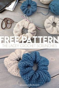 Free Crochet Scrunchies Pattern, Hair scrunchies are an iconic fashion piece. These were popular in the and in to the s, Crochet Crafts, Yarn Crafts, Easy Crochet, Free Crochet, Knit Crochet, Tutorial Crochet, Crochet Braid, Crotchet, Crochet Hooks