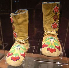 1910 Blackfoot Moccasins. A very unusual bead work pattern for Blackfoot foot wear, which is usually geometric. These look more like Plains Cree women's moccasins to me. JE