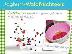 Eine gesunde und leckere Variante zum herkömmlichen Eis! Tableware, Healthy Eating For Kids, Yogurt, Ice, Clean Foods, Health, Simple, Dinnerware