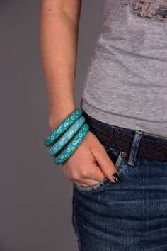 Turquoise blue jewelry bangle bracelets for girls by WOWSTUFFS