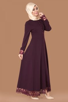 Sırtı Fiyonklu Güpürlü Ferace Bordo Ürün kodu: AH2132 --> 154.90 TL Abaya Fashion, Muslim Fashion, Fashion Dresses, Floral Dress Outfits, Hijab Style Dress, Bridal Hijab Styles, Hijab Evening Dress, Modele Hijab, Afghan Dresses