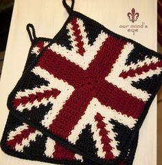 In the Garden of our mind's Eye...love the union jack potholders!