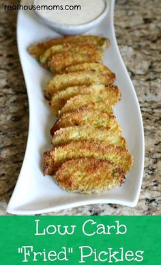 "Low Carb ""Fried"" Pickles are super tasty and addictive and a great appetizer for summer and bathing suit season!!!"