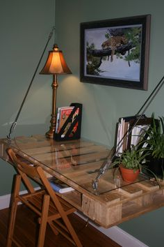 Pallet Desk-just use 3 pallets, secured with a clear top.