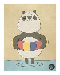 Paddling Panda  Illustration Art Print  8 x 10 by CarlBatterbee, £9.99