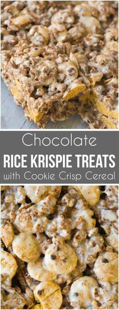 Chocolate Rice Krispie Treats with Cookie Crisp Cereal are a fun twist on classic rice krispie squares. These delicious marshmallow treats are made with Cocoa Rice Krispies and Cookie Crisp cereal.