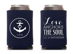 Custom Wedding Koozie  Love Anchors The Soul by ChristineMeahan, $96.75
