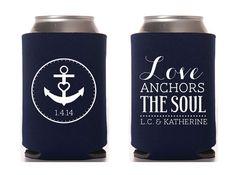 Custom Wedding Koozie  Love Anchors The Soul by ChristineMeahan, $96.75
