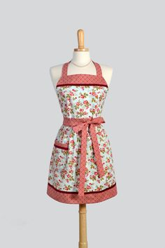 Womens Bib Full Apron - Handmade Vintage Style Blue and Red Floral Classic Retro Kitchen Apron Personalize or Monogram