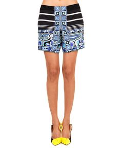 Stripe print shorts with Pucci style tones two hidden side pockets back zipper closure 83% VI 17% SE
