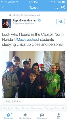 Maclay MIddle School  #maclaytakesdc Maclat Twitter feed, Representative Gwen Graham gave our 7th graders a shout out on Twitter (and followed us - Maclay School).