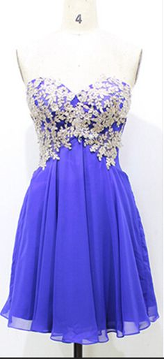 Royal Blue Appliques Chiffon Homecoming Dresses,A-Line Graduation Dresses,Homecoming Dress,Short/Mini Homecoming Dress