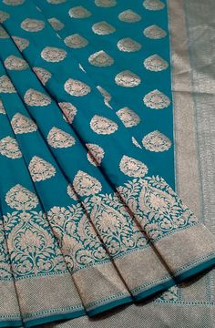 Discover thousands of images about Blue Handloom Banarasi Georgette Silk Saree Brocade Saree, Blue Silk Saree, Banarsi Saree, Bridal Silk Saree, Soft Silk Sarees, Ikkat Silk Sarees, Handloom Saree, Saree Wedding, Silk Brocade