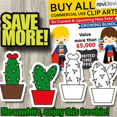 """Simple Cactus clip art free download. Cacti clipart and digital stamps. And don't miss out big sale for """"Buy Everything Clipart Growing Bundle"""" Link-Buy Everything Clip Art Growing Bundle (lifetime access to all clipart)"""