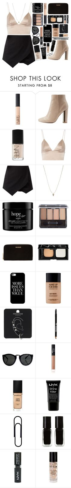 """""""Outfit 205"""" by holass ❤ liked on Polyvore featuring NARS Cosmetics, Qupid, T By Alexander Wang, ASOS, philosophy, COVERGIRL, Balmain, Casetify, MAKE UP FOR EVER and Topshop"""