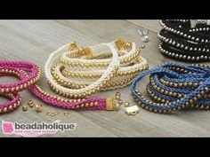 (167) How to Make the Beaded Flat Kumihimo Bracelet Set - An Exclusive Beadaholique Kit - YouTube