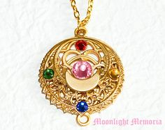 Sailor Moon Necklace - Sailor Moon Transformation Brooch Inspired - Handmade Crystal Gold Sailor Moon Necklace Jewelry Gift for Her