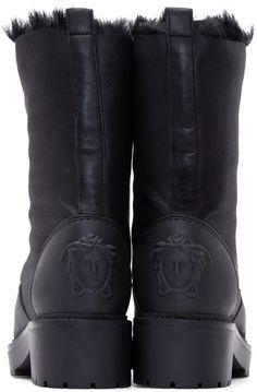 Versace Black Inverted Fur Zipper Boots