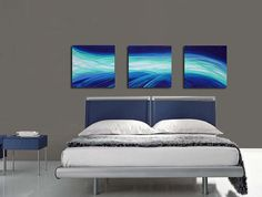 Blue Painting Aqua Art Abstract Artwork Canvas White Light Wave Triptych Ready To Hang