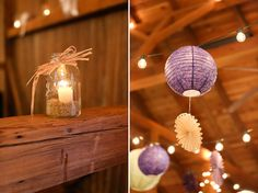 fall country barn wedding reception @Lindsey Grande Beckett  what about purple laturns from the celing maybe?