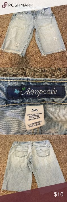 Bermuda shorts Aeropostale frayed hem Bermuda shorts. Small ink stain (pictured). Super comfortable!!! Aeropostale Shorts Bermudas