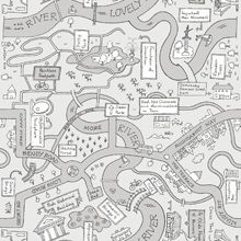 Designer Wallpaper Roundabout Way  - Black/Silver - 11021 Roundabout Way, from Holden Decor's Playtime collection, is a fun feel-god wallpaper that can be enjoyed by kids and adults alike. The design features a hand drawn map featuring all of the things you find in every typical British town such as the pointless footpath, the unfathomable sculpture and the important man monument! £15.00 per roll