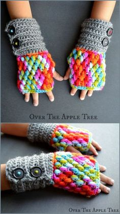 DIY Crochet Puff Stitch Fingerless Gloves Free Pattern from...