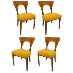 Set of Four Danish Modern Solid Teak Dining Chairs Designed by Nils Koefoed | From a unique collection of antique and modern dining room chairs at https://www.1stdibs.com/furniture/seating/dining-room-chairs/