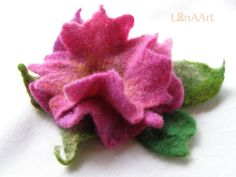 Pinkviolet felted flower brooch pin and hair clip  by LanAArt