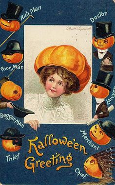 Vintage Halloween card {I've seen a few like this now~w/ the different men named~And it's killing me to know more....I'm gona have to google it!!!!}