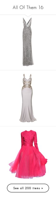 """All Of Them 16"" by angelbrubisc ❤ liked on Polyvore featuring dresses, gowns, naeem khan, long dresses, evening gowns, silver, white evening dresses, white ball gowns, silver sequin gown and white sequin dress"