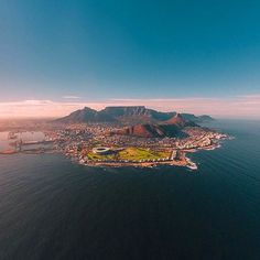 Cape Town from another angle (South Africa). Look at this brilliant view. You can see almost the whole Cape Town from up here – The Table Mountain, Lion`s Head, the stadium, coastline and townscape. What a spectacular view! Visit South Africa, Cape Town South Africa, Table Mountain, Mountain Lion, What A Wonderful World, African Beauty, West Coast, Wonders Of The World, Beaches