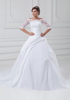 Modest Ball Gown Off-the-shoulder Floor Length Taffeta Wedding Dress with Beading