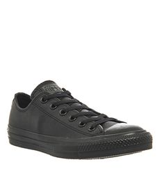 Converse All Star Leather Ox Low Black Mono Trainers Shoes In Clothes Accessories Men S