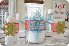 Snowflake ornaments and ribbon