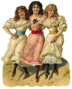 Victorian illustration ~ 3 young ladies