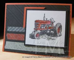 Stamp & Scrap with Frenchie: Stampin'Up! Washi Tape for Masculine Card. I like the LO of this card Masculine Birthday Cards, Birthday Cards For Men, Masculine Cards, Red Tractor, Tractors, Happy Birthday Man, Washi Tape Cards, Man Card, Boy Cards