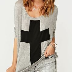 Crossed out tee from Nasty Gal✌️ Slouchy heather gray tee featuring a black cross print and wrapped cutout back.... Dolman sleeves, loose fit. Mildly worn, super soft. Looks awesome paired with skinnies and Moto boots  Nasty Gal Tops